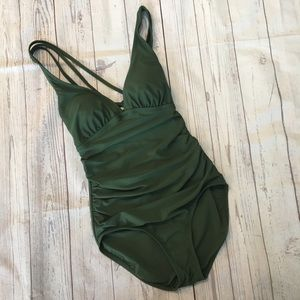 NWT KONA SOL Army Green One Piece Bathing Suit